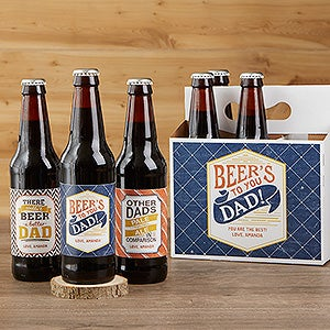 Personalized Father's Day Beer Bottle Labels & Bottle Carrier - Beer's To You - 17040