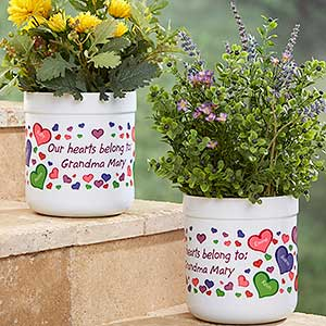 Personalized Outdoor Flower Pot - My Heart Belongs - 17063