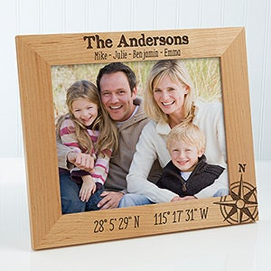 Personalized Compas Picture Frame - Latitude and Longitude Location - 17068