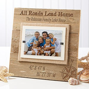 Personalized Reclaimed Beachwood Frame - Latitude & Longitude - 17069