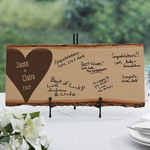 Personalized Basswood Plank -Wood Wedding Guest Book - 17072