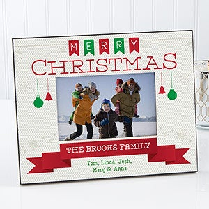 Personalized Christmas Picture Frame - Holiday Banner - 17096