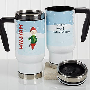 Personalized Commuter Travel Mug - Ice Skating Character - 17127