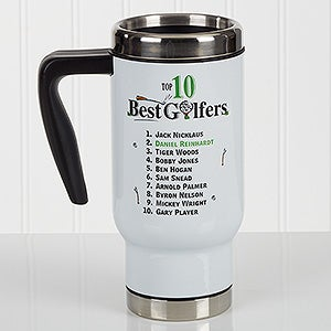 Personalized Commuter Travel Mug - Top 10 Golfers - 17133