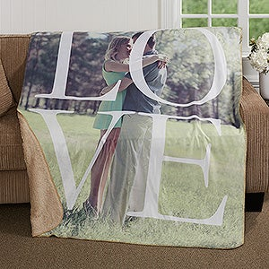 Personalized Photo Premium Sherpa Blanket - LOVE - 17153