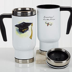 Personalized Commuter Travel Mug - Cap & Diploma - 17164