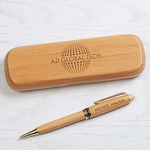 Business Logo Engraved Wood Pen Sets - 17186