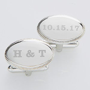 Engraved Wedding Silver Cuff Links - Wedding Date - 17209