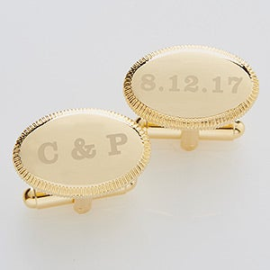 Wedding Date Engraved Gold Cuff Links