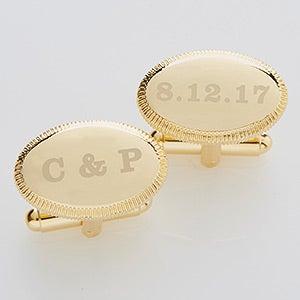 Engraved Wedding Gold Cuff Links - Wedding Date - 17210