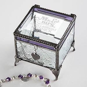 Vintage Anniversary Engraved Jewelry Box - The Happy Couple - 17214