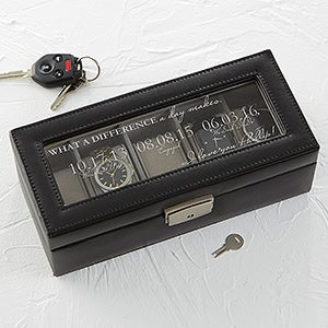 Personalized 5 Slot Leather Watch Box - Special Dates - 17233