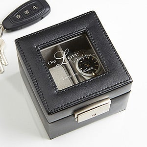 Personalized Leather 2 Slot Watch Box - A Time For Love - 17234