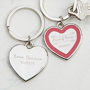 Personalized Heart Key Ring - Bridesmaid - 17241