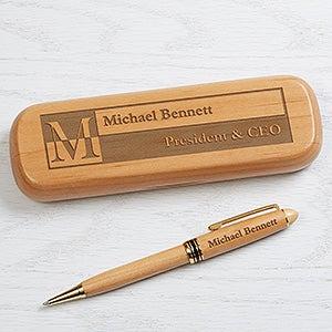Engraved Alderwood Pen Set - Sophisticated Style - 17246