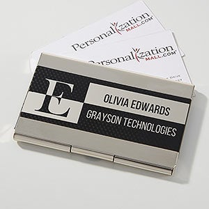 black silver personalized business card case 17254 - Business Card Cases