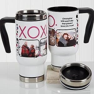Personalized Romantic Photo Commuter Travel Mug - XOXO - 17258
