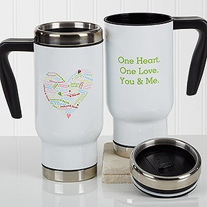 Personalized Commuter Travel Mug - Heart Of Love - 17262