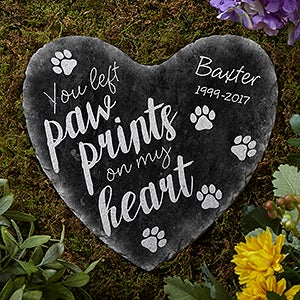 Personalized Pet Memorial Heart Garden Stone Paw Prints
