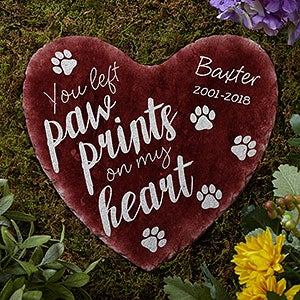 Personalized Pet Memorial Heart Garden Stone - Paw Prints On My Heart - 17273
