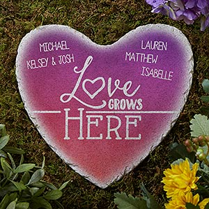 Personalized Heart Garden Stone - Love Grows Here - 17274