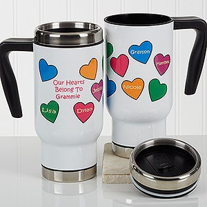 Personalized Commuter Travel Mug - Our Hearts Belong To You - 17281