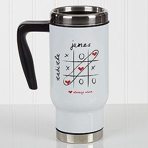 Personalized Romantic Commuter Travel Mug - Love Always Wins! - 17293