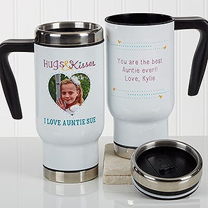 Personalized Photo Commuter Travel Mug - Hugs & Kisses - 17294