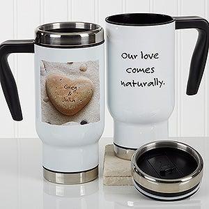 Personalized Romantic Commuter Travel Mug - Heart Rock - 17295