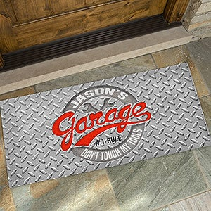 His Garage Rules Personalized Oversized Doormat  24x48   On Sale Today!