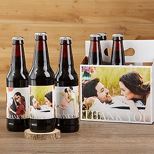 Personalized Photo Thank You Beer Bottle Labels & Bottle Carrier - Wedding - 17297