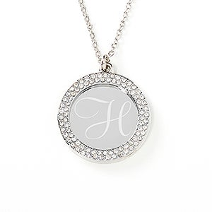 Pave Stone Personalized Monogram Necklace - 17299