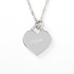engraved heart necklace her loving heart