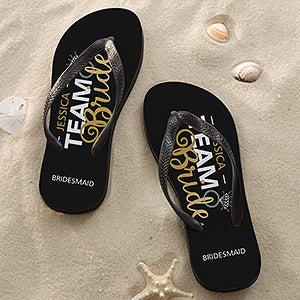 Personalized Wedding Party Adult Flip Flops - Team Bride