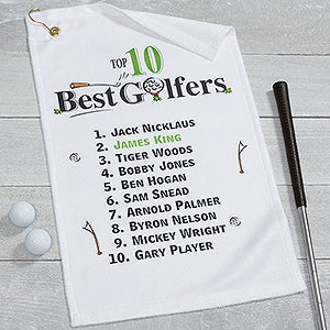 Personalized Golf Towel - Top 10 Golfers - 17325