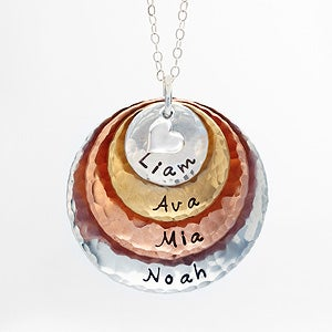 Personalized Mixed Metals Stackable Hammered Disc Name Necklace - 17333D