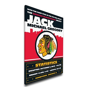 Personalized NHL Baby Birth Announcement Canvas - 17356D