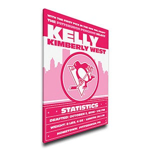 Personalized Pink NHL Baby Birth Announcement Canvas - 17357D