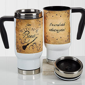 Personalized Halloween Commuter Travel Mug - Witch's Brew - 17361
