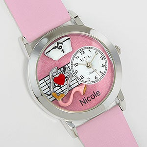 Personalized #-D Pink Nurse Watch - 17370D