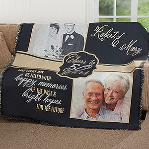 Personalized Anniversary Photo Throw Blanket - Then & Now - 17377