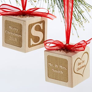 personalized newlywed wood block ornament our first christmas