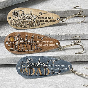 Personalized fishing lure set o 39 fishal dad for Fishing gifts for dad