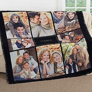 Personalized Photo Woven Throw Blanket - Photomontage - 17386