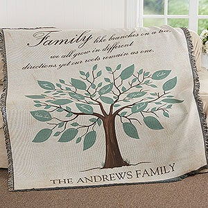 personalized family tree throw blanket