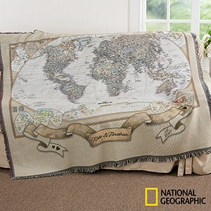 National Geographic World Map Blanket Personalized - World map for sale