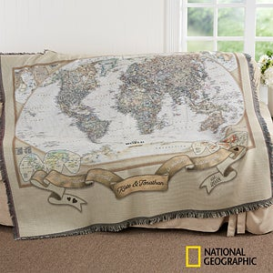 National Geographic World Map Blanket Personalized - World map blanket