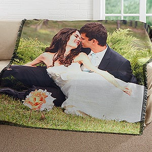 Personalized Wedding Photo Woven Throw - Picture It! - 17397