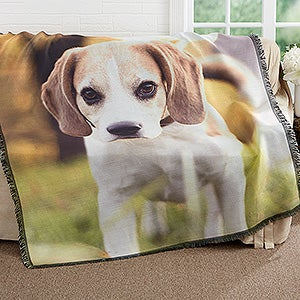 Personalized Pet Photo Woven Throw - Picture It! - 17398