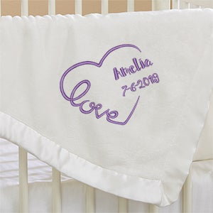 Embroidered Baby Blankets - Baby Love Keepsake - 17401